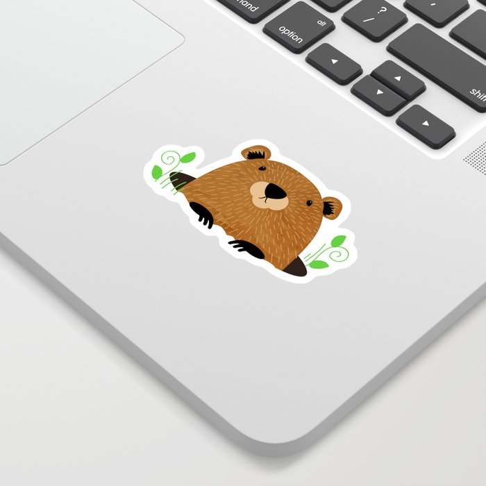 Illustrated Groundhog Die Cut Sticker from Society6
