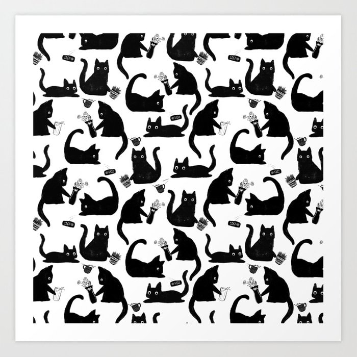 Bad Cats Knocking Stuff Over Illustrated Hand Drawn Pattern