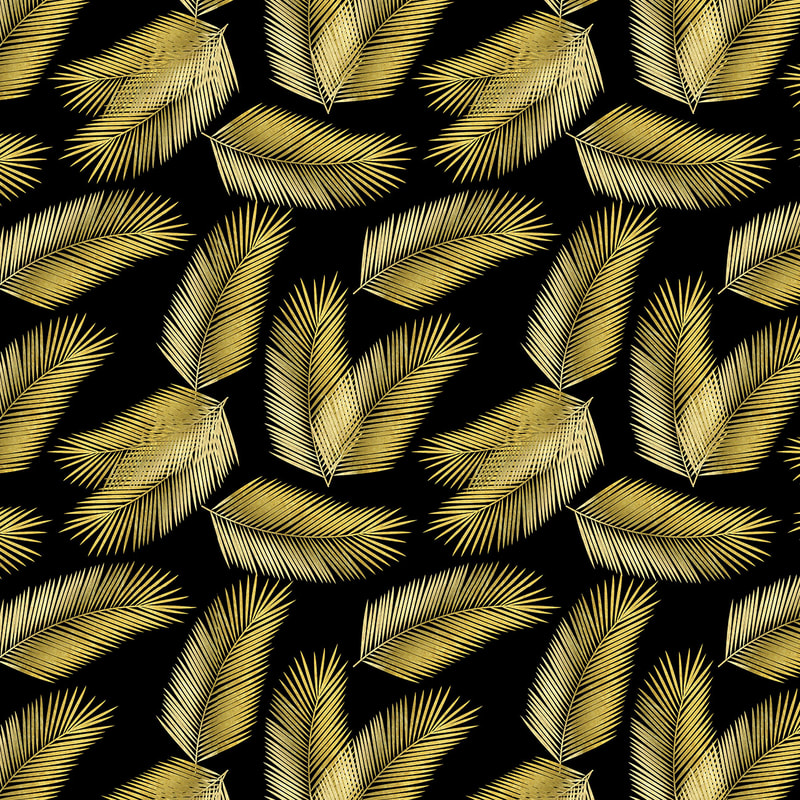Gold & Black Tropical Palm Leaves Pattern