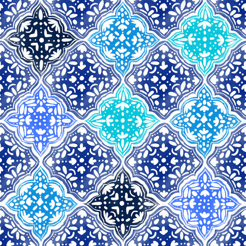 Blue Painted Moroccan Tiles Pattern by TanyaDraws