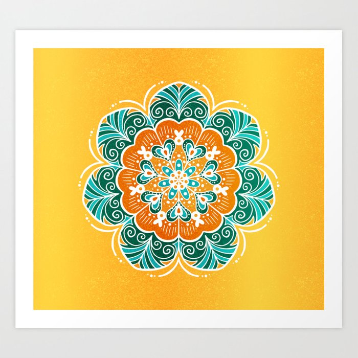Blue, orange and yellow flower mandala art