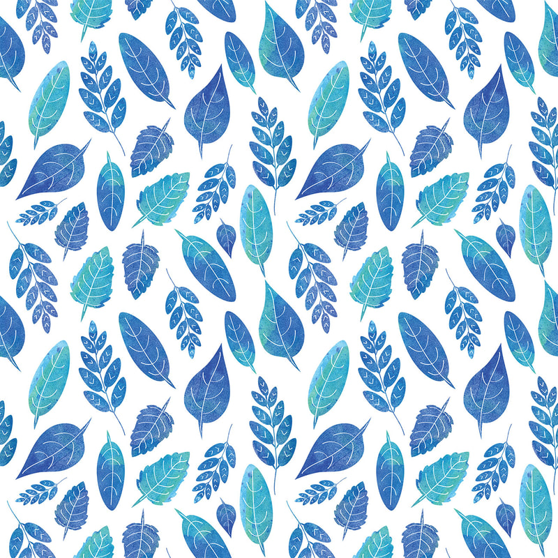 Watercolour painted blue leaves pattern by TanyaDraws