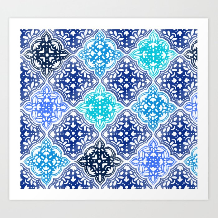 Blue Moroccan Hand Drawn Tiles Pattern