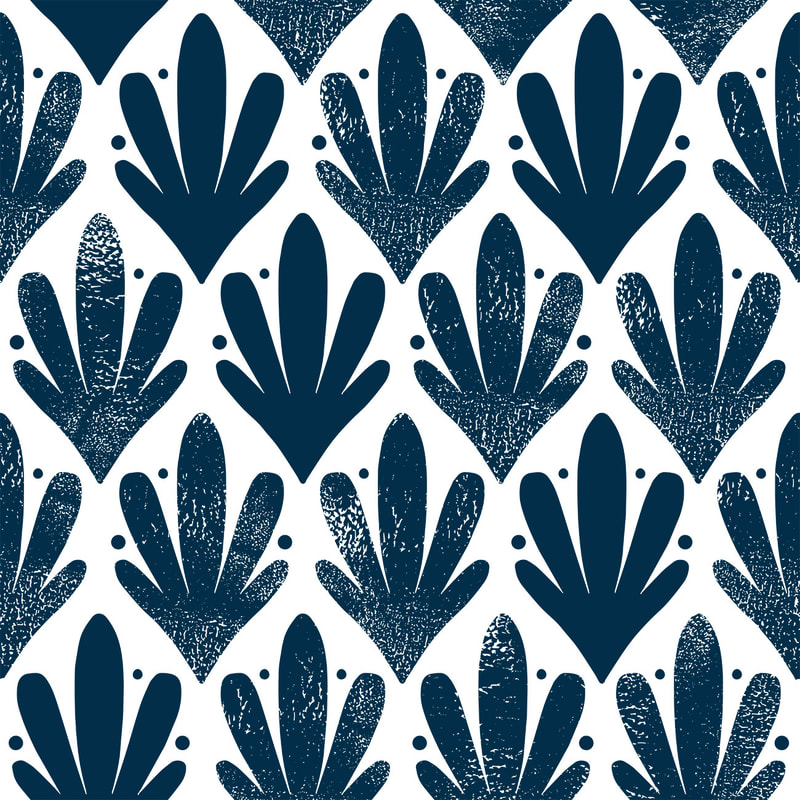 Navy blue ornate stamped pattern by TanyaDraws
