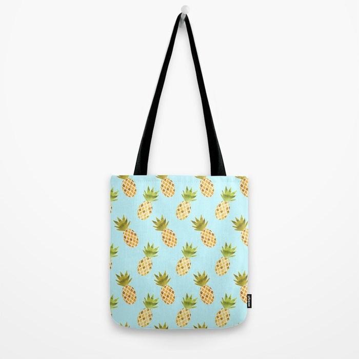 Watercolour Pineapple Pattern Tote Bag - TanyaDraws @ Society6
