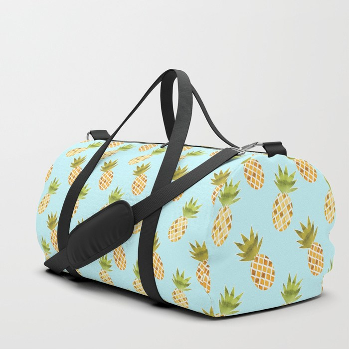 Watercolour Pineapple Pattern Duffle Bag - TanyaDraws @ Society6