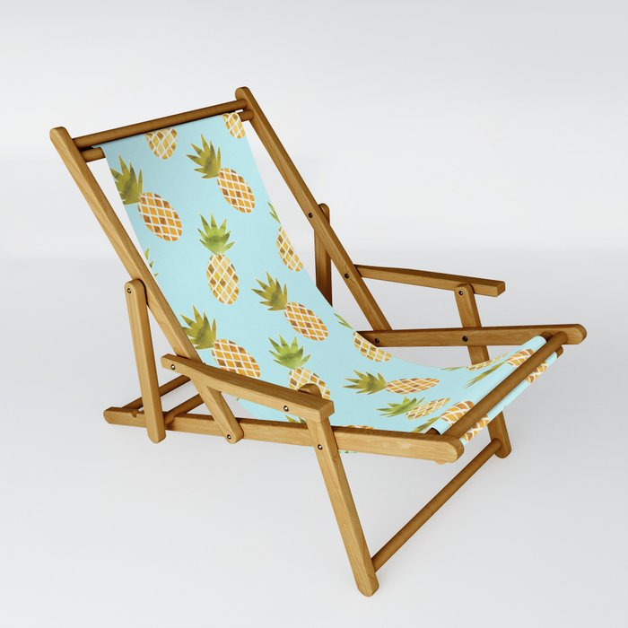 Watercolour Pineapple Pattern Foldable Sling Chair - TanyaDraws @ Society6