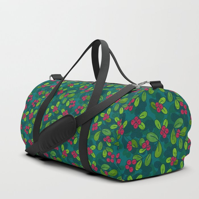 Green & Teal Cranberry Illustrated Pattern Duffle Bag @ Society6
