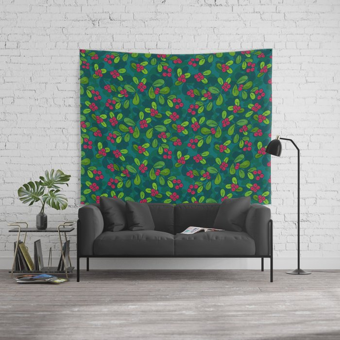 Green & Teal Cranberry Illustrated Pattern Tapestry @ Society6