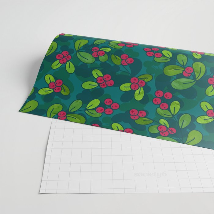 Green & Teal Cranberry Illustrated Pattern Wrapping Paper @ Society6