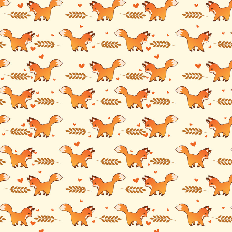 Red Foxes & Laurel Leaves Illustrated Pattern