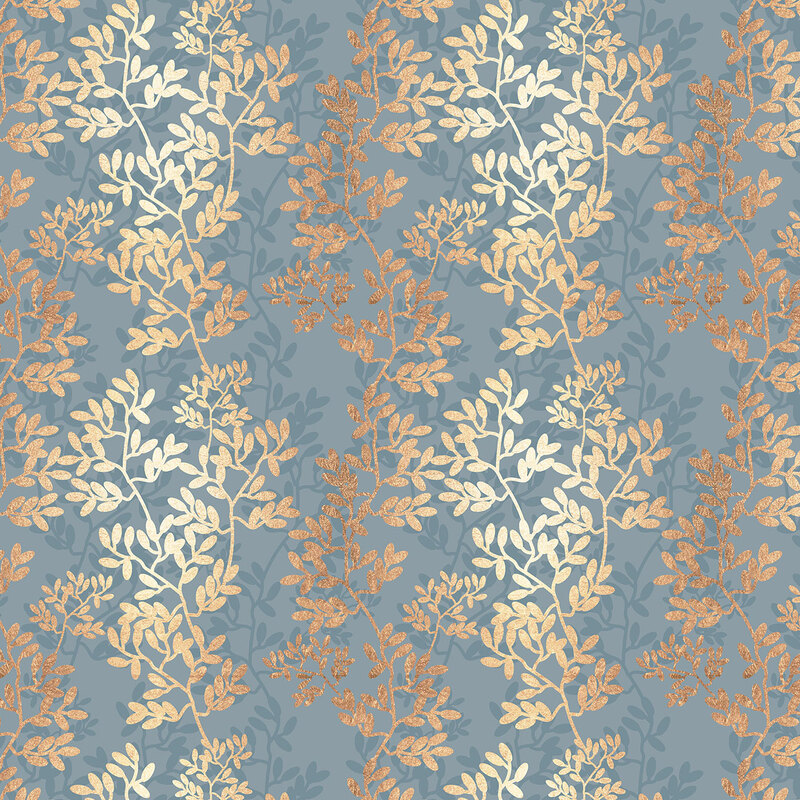 Gold Foil Branches & Leaves Pattern