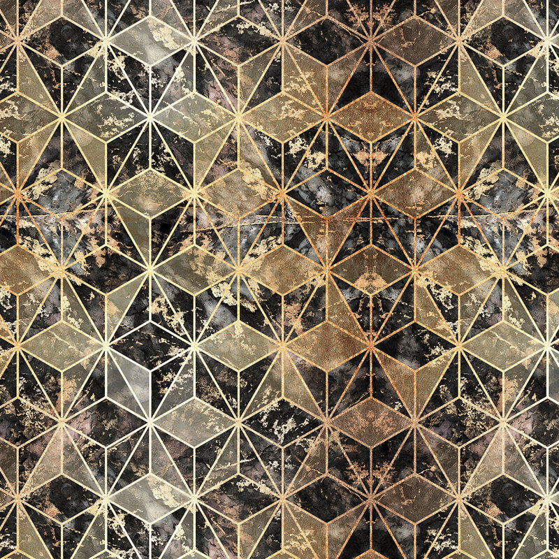 Gold & Marble Geometric Pattern