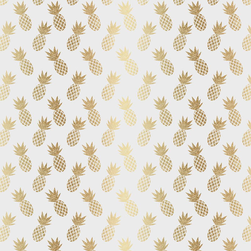 Illustrated Gold Pineapple Pattern