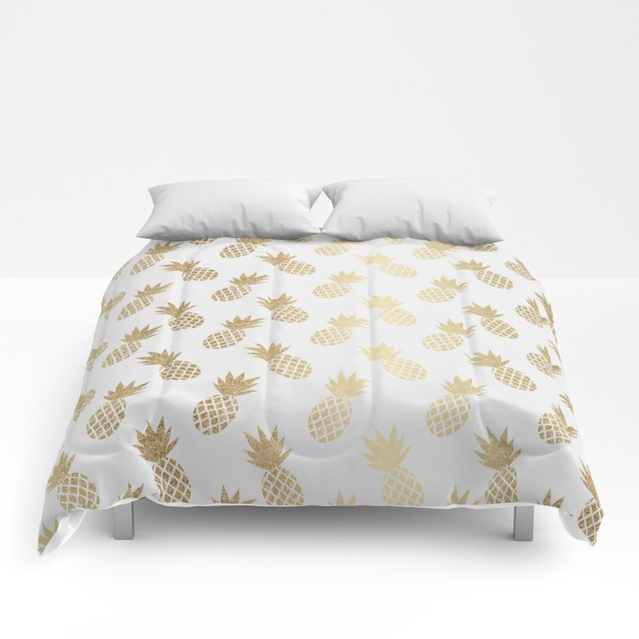Gold pineapple pattern queen sized comforter from Society6