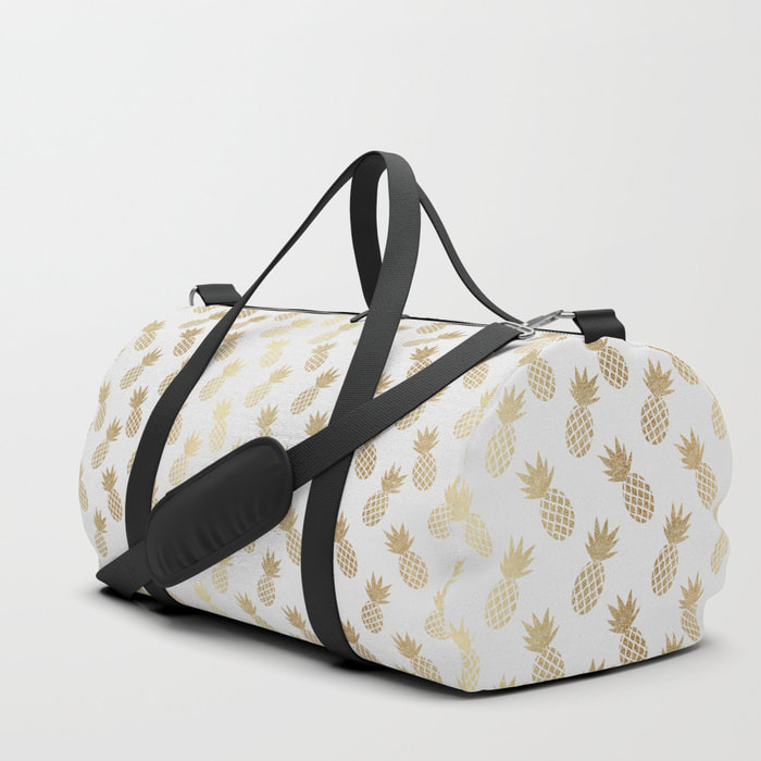 Gold Pineapple Pattern Duffle Bag from Society6