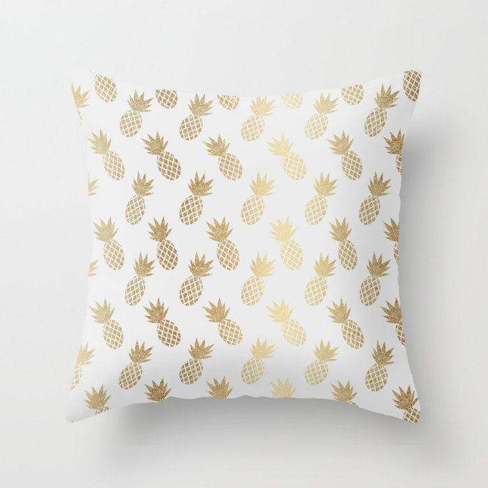 Gold Pineapple Pattern Throw Pillow from Society6
