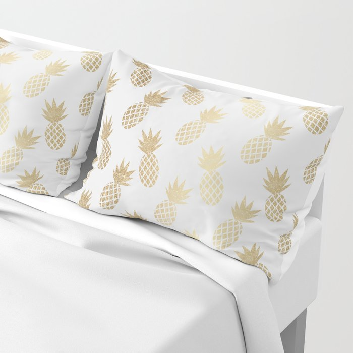 Set of 2 gold pineapple pattern pillow covers