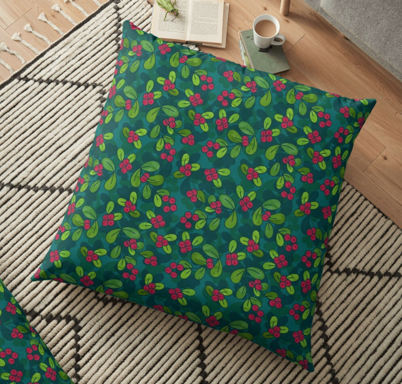 Green & Teal Cranberry Illustrated Pattern Floor Pillow @ RedBubble