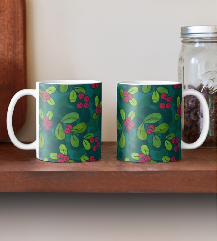 Green & Teal Cranberry Illustrated Pattern Mug @ RedBubble