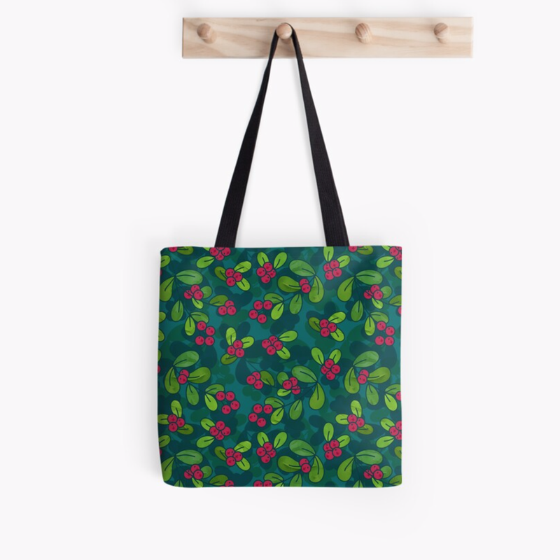 Green & Teal Cranberry Illustrated Pattern Tote Bag @ RedBubble