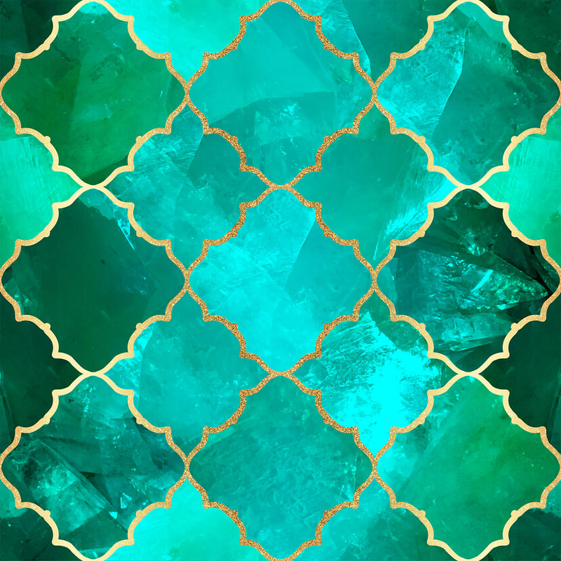 Green Quartz & Gold Moroccan Tile Pattern by TanyaDraws