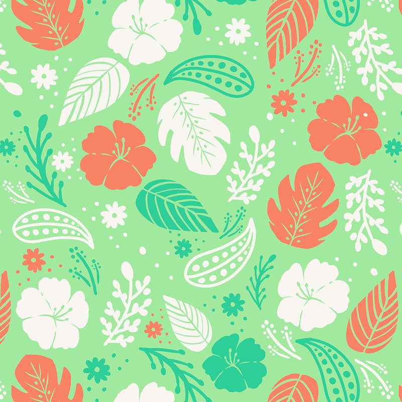 Tropical Foliage & Flowers Pattern