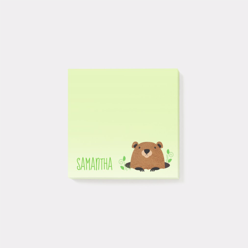 Adorable Custom Name Groundhog drawing post it notes