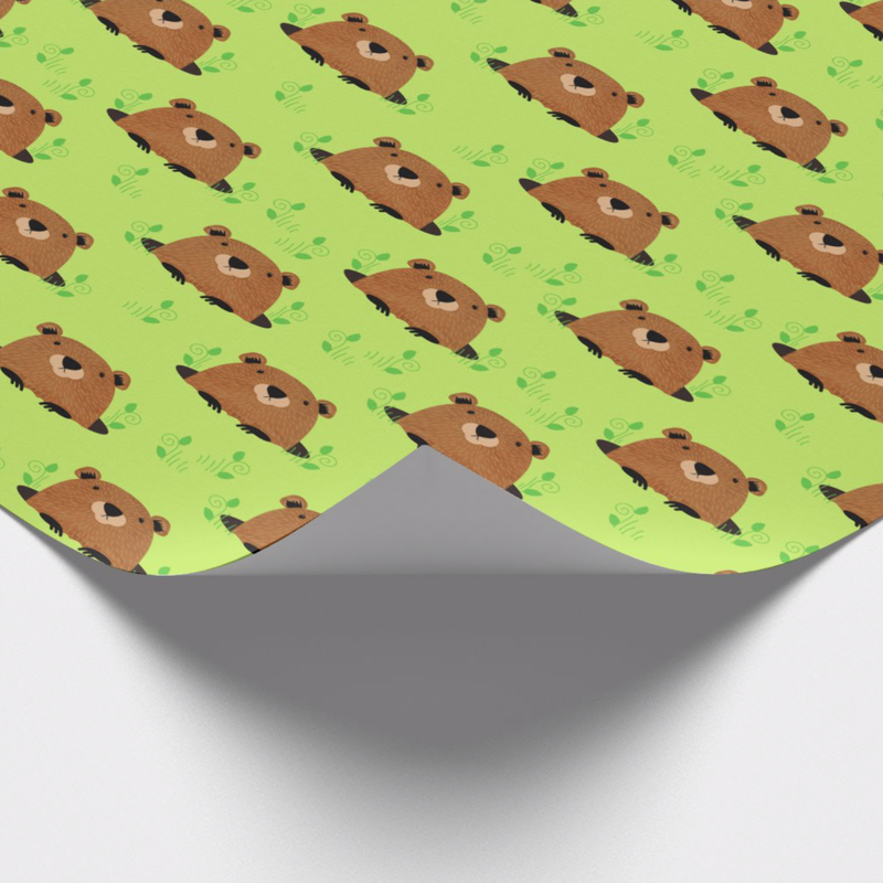 Adorable green groundhog illustrated pattern wrapping paper