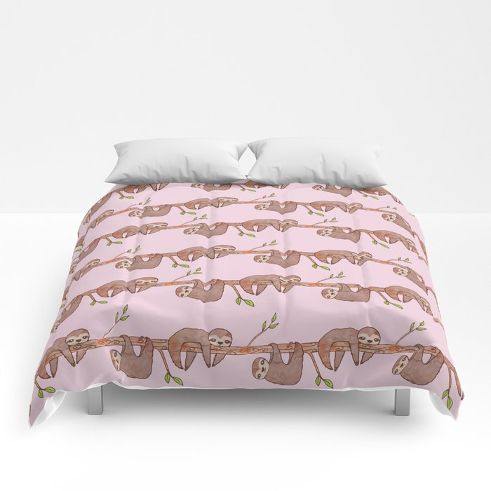 Pink Baby Sloth Pattern Queen Sized Comforter