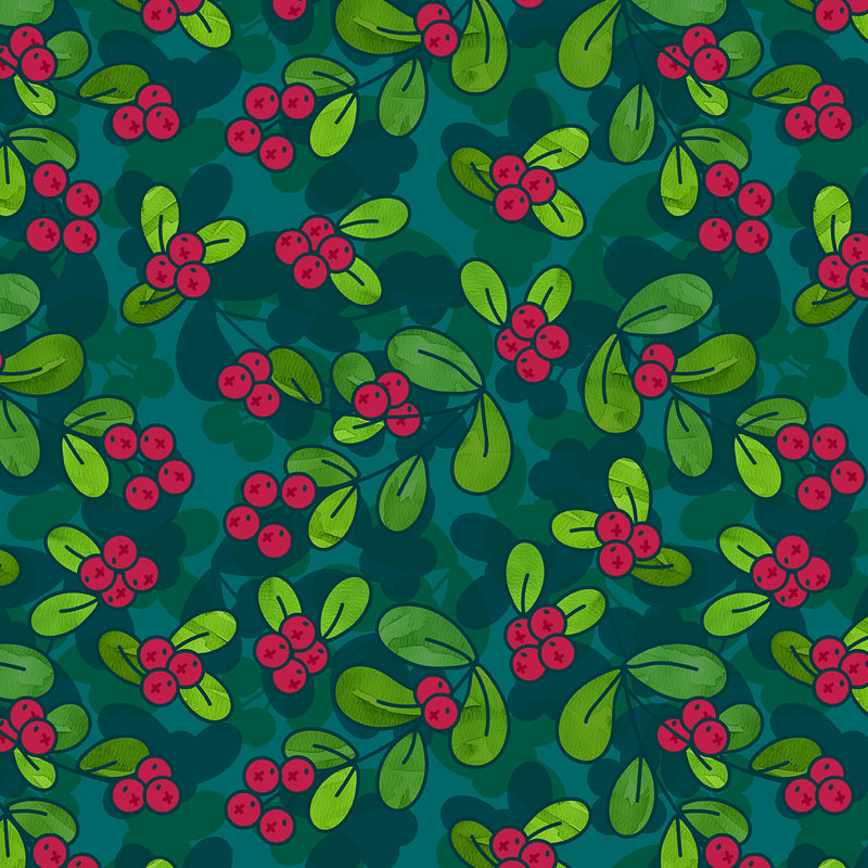 Teal Cranberry Illustrated Pattern by TanyaDraws