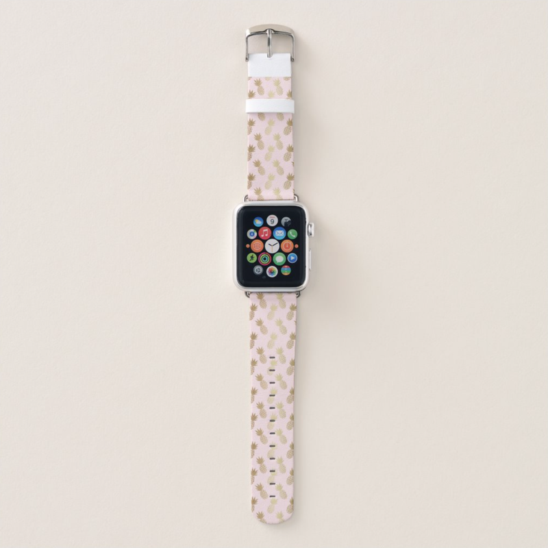 Pink and Gold Pineapple Pattern Apple Watch Band from Zazzle