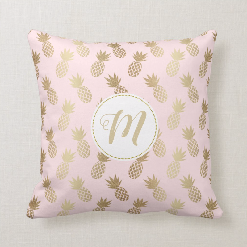 Monogram Pink and Gold Pineapple Pattern Throw Pillow from Zazzle