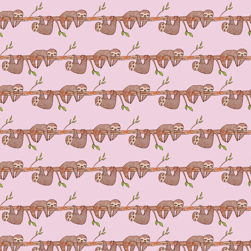 Pink Baby Sloth Illustrated Pattern by TanyaDraws