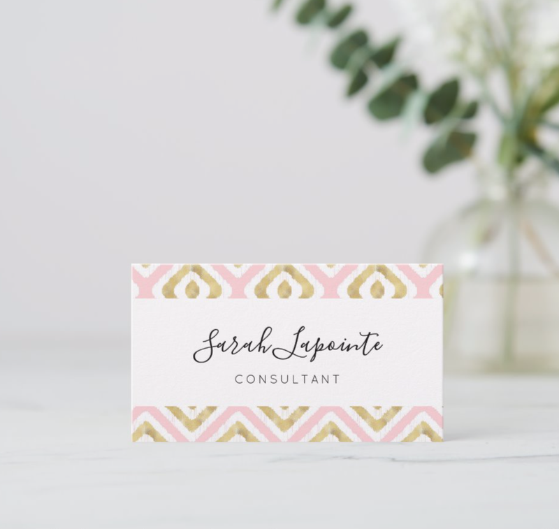 Custom gold & pink ikat pattern business cards @ Zazzle