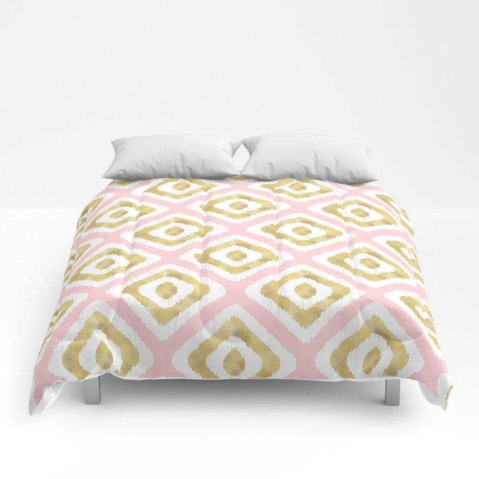 Pink & Gold Ikat Pattern Comforter @ Society6
