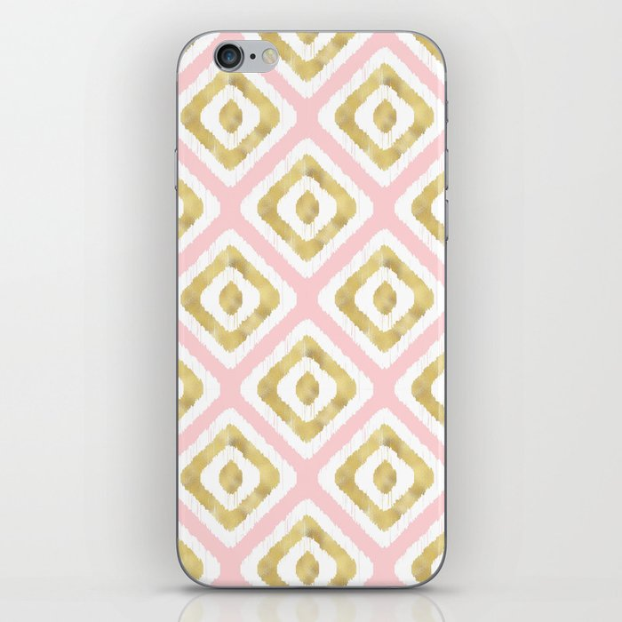 Pink & Gold Ikat Pattern iPhone 11 skin @ Society6