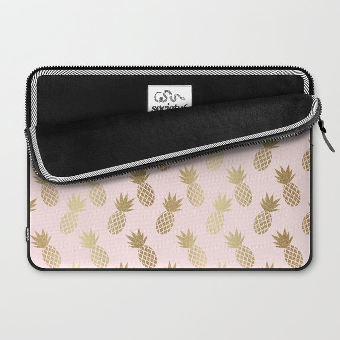 "Pink and Gold Pineapple Pattern 13"" Laptop Sleeve from Society6"