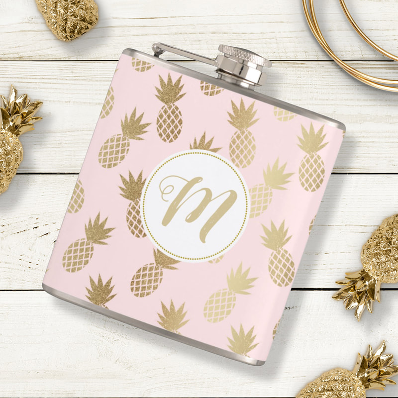Monogram Pink and Gold Pineapple Pattern Flask from Zazzle