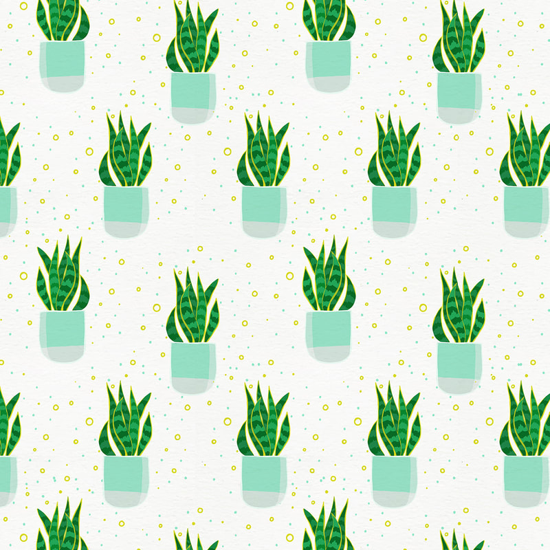 Hand Drawn Potted Snake Plant Pattern