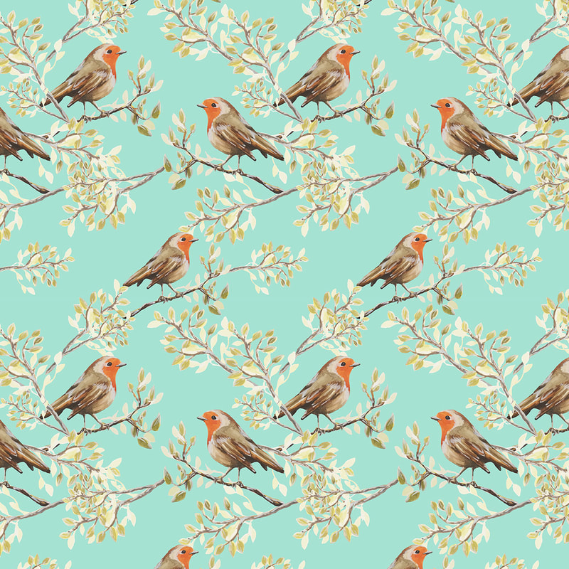 Vintage Red Breasted Robin Painted Pattern