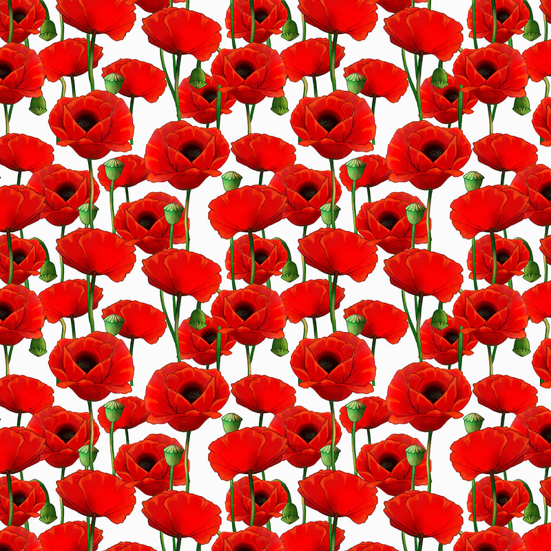 Red Poppies Hand Drawn Pattern