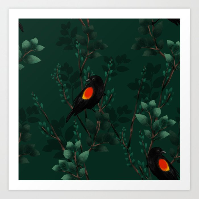 Red Winged Blackbird Pattern Art Print from Society6