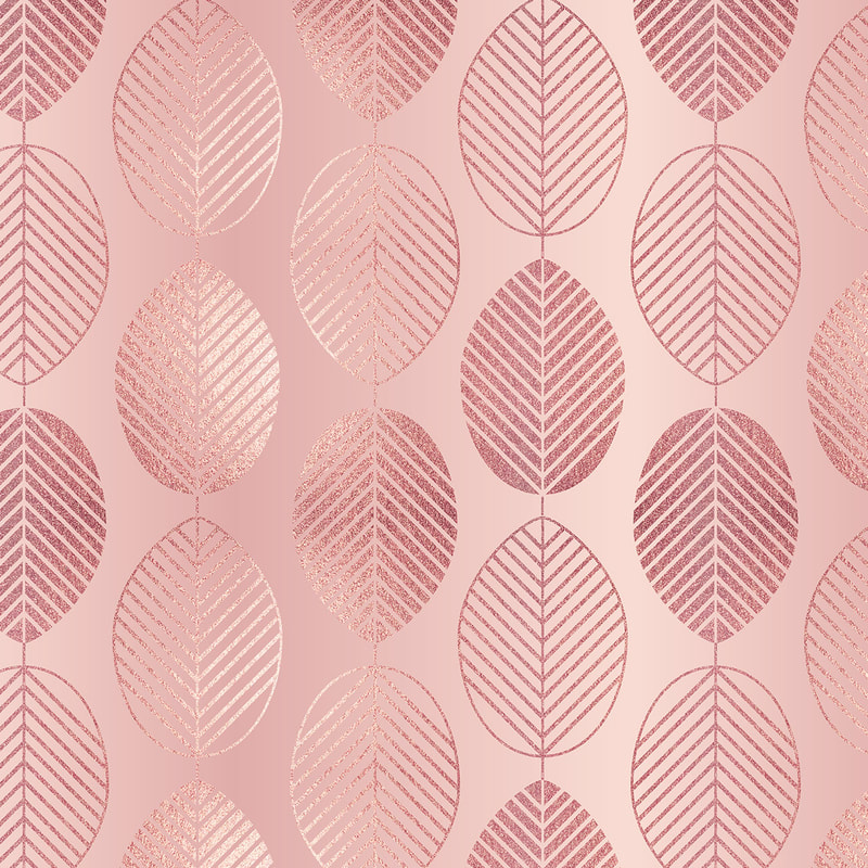 Rose Gold & Pink Leaves Pattern
