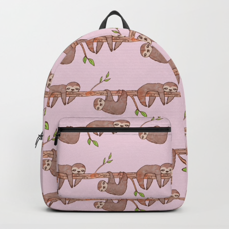 Pink Baby Sloth Pattern Backpack