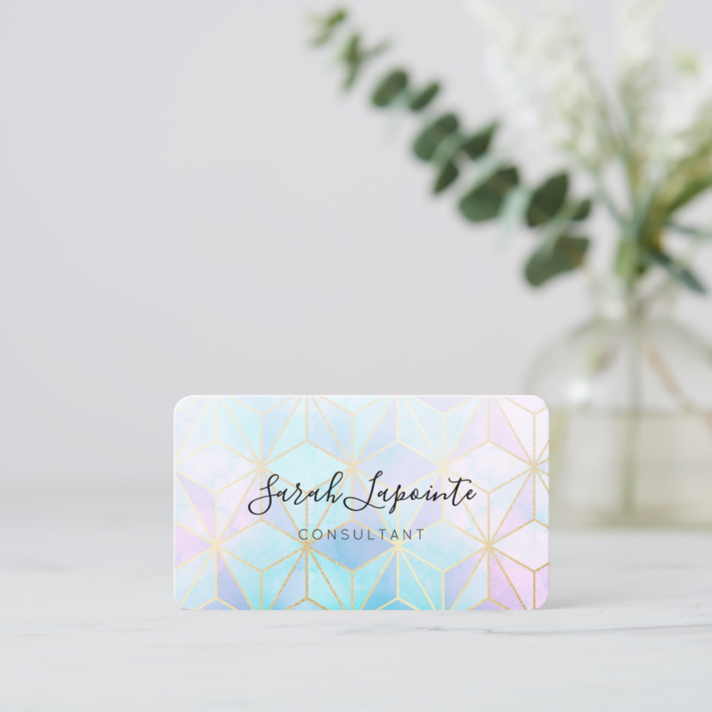 Customizable iridescent geometric business card from Zazzle