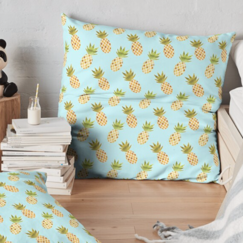 Watercolour Pineapple Pattern Floor Pillow - TanyaDraws @ RedBubble