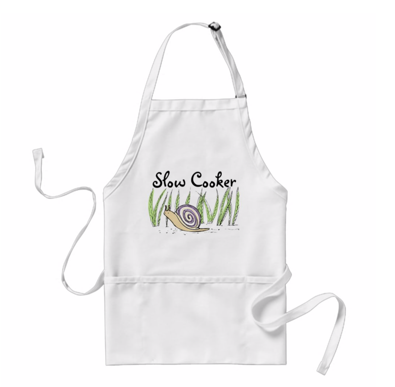 Slow Cooker Cute Snail Pun Apron from Zazzle