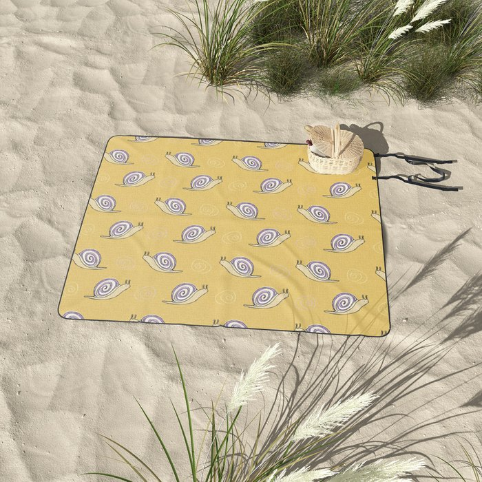 Hand Drawn Cute Snail Pattern Picnic Blanket from Society6