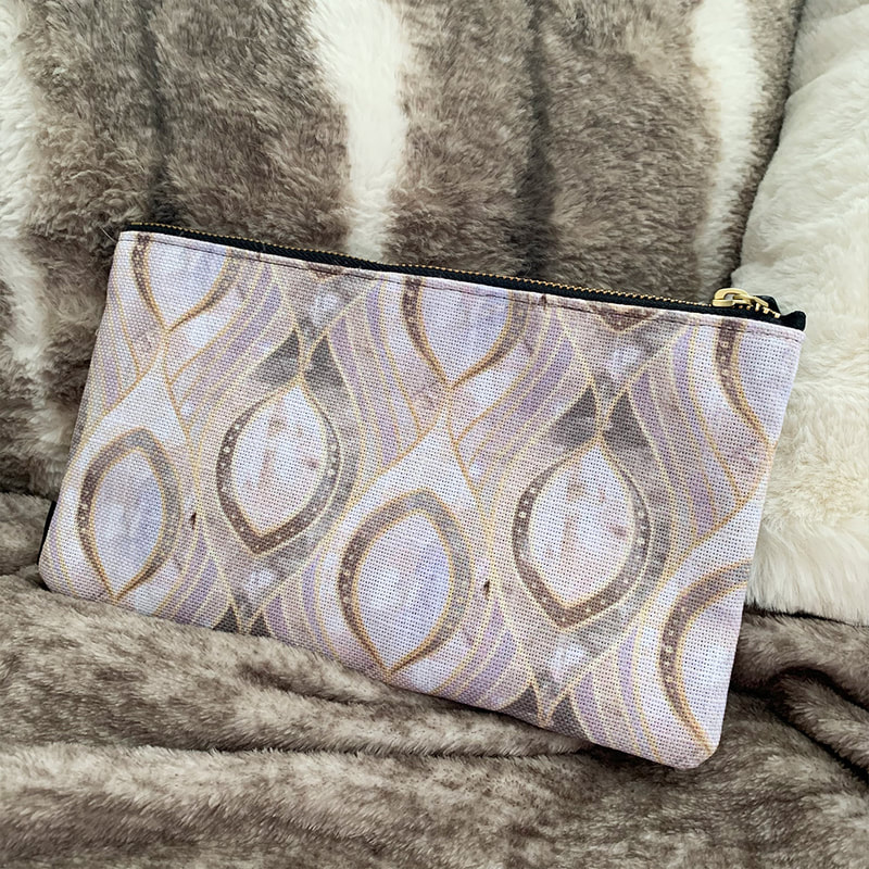 Front view of the Society6 Elegant Quartz Pattern Pouch by TanyaDraws